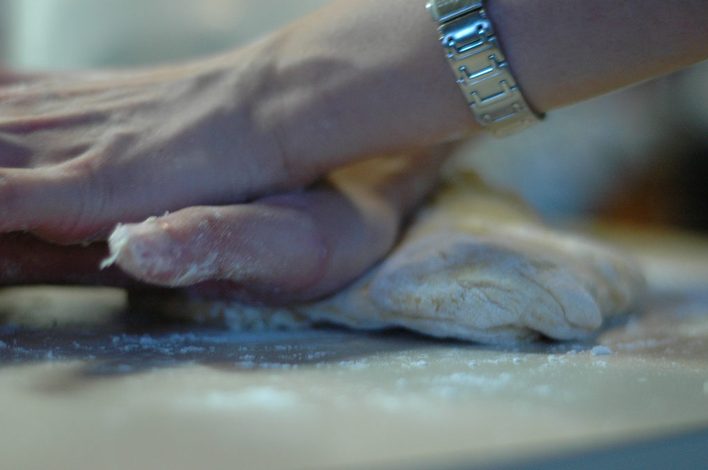 media training glasgow having laugh kneading bread.