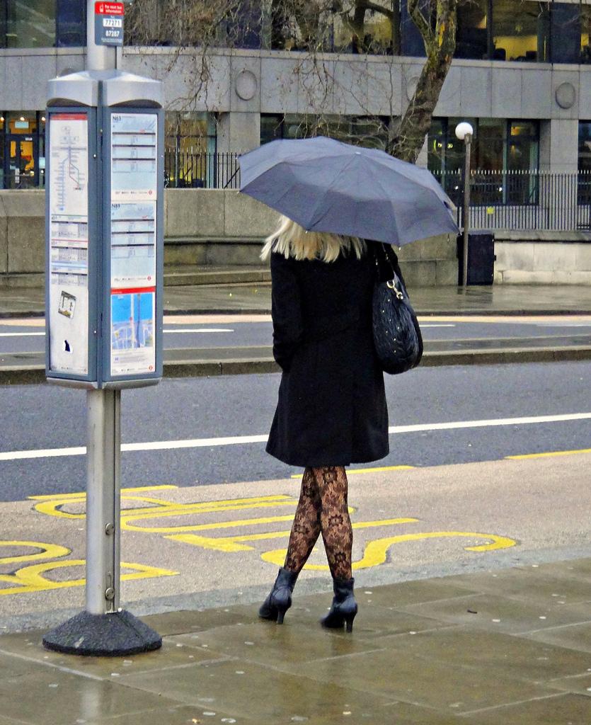 Body Language presentation skills courses scotland Crossed Legs girl umbrella.