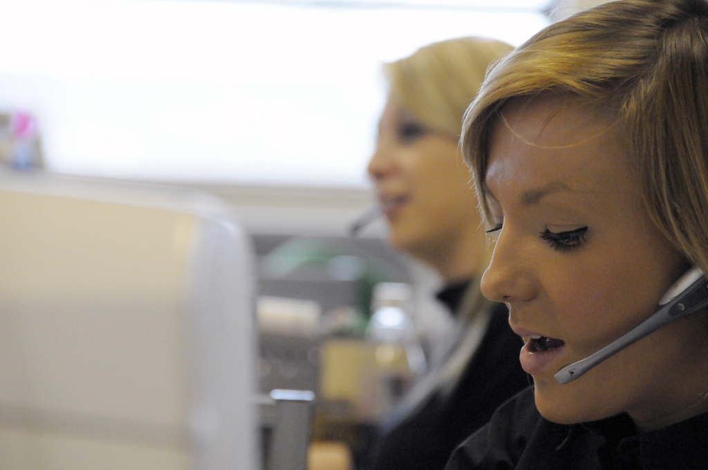 telephone skills training courses girl in call centre.