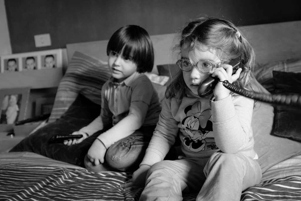 telephone skills training courses kids on phone.