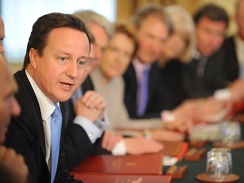 prime minister david cameron media interview training scotland cabinet table.