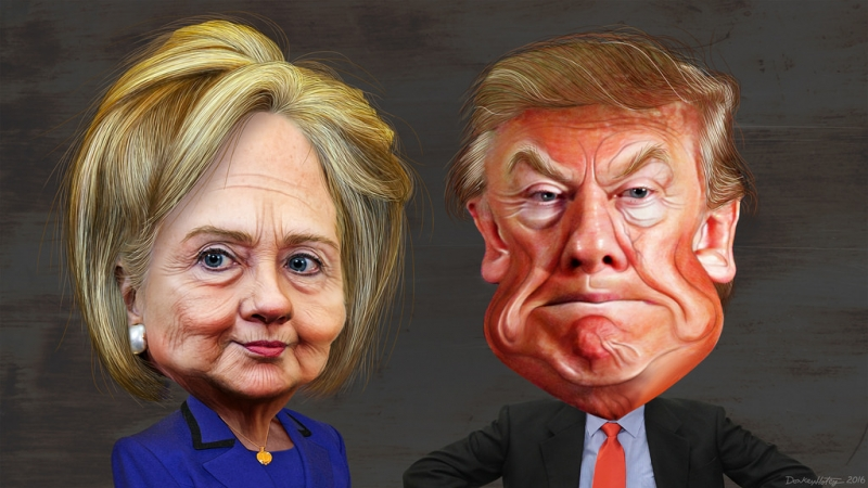 live tv interview training scotland donald trump hillary clinton caricatures.