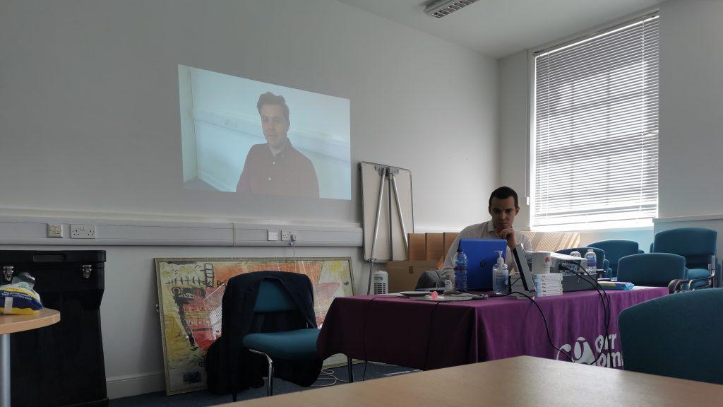 background, presenting remotely training